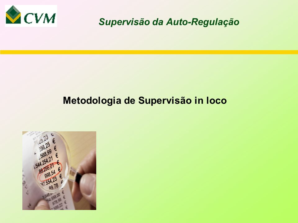 Metodologia de Supervisão in loco Supervisão da Auto-Regulação