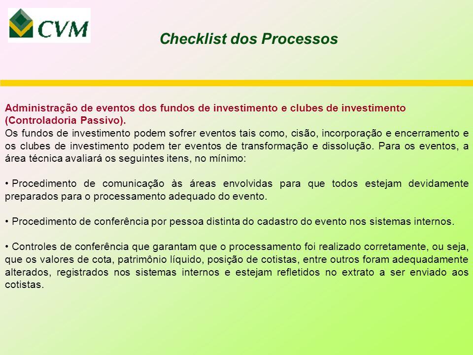 Administração de eventos dos fundos de investimento e clubes de investimento (Controladoria Passivo).