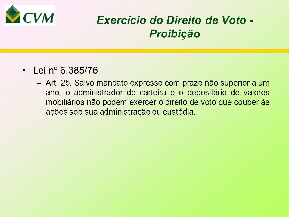 Exercício do Direito de Voto - Proibição Lei nº 6.385/76 –Art.