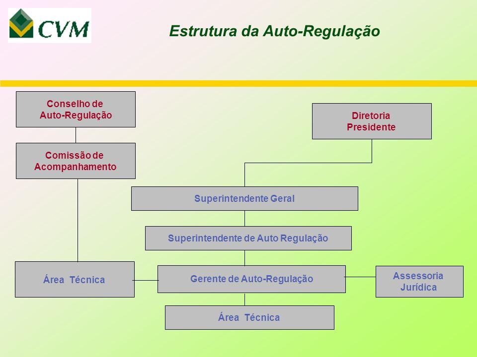 Estrutura da Auto-Regulação Comissão de Acompanhamento Conselho de Auto-Regulação Gerente de Auto-Regulação Superintendente de Auto Regulação Superintendente Geral Diretoria Presidente Área Técnica Assessoria Jurídica Área Técnica