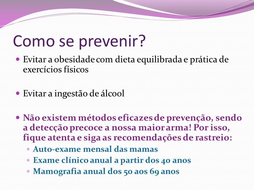Como se prevenir? Evitar a obesidade com dieta equilibrada e prática de exercícios físicos Evitar a ingestão de álcool Não existem métodos eficazes de