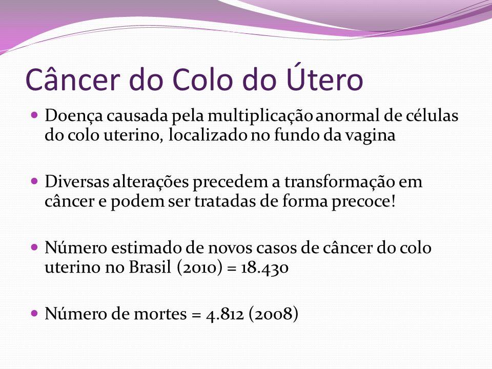 Câncer do Colo do Útero Doença causada pela multiplicação anormal de células do colo uterino, localizado no fundo da vagina Diversas alterações preced