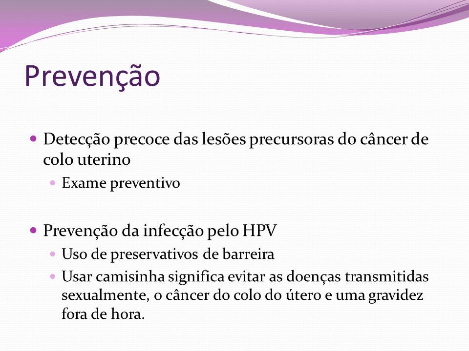Prevenção Detecção precoce das lesões precursoras do câncer de colo uterino Exame preventivo Prevenção da infecção pelo HPV Uso de preservativos de ba