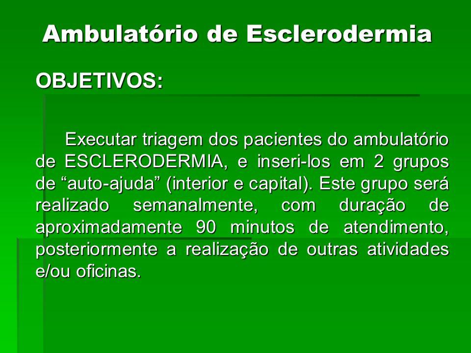 OBJETIVOS: Executar triagem dos pacientes do ambulatório de ESCLERODERMIA, e inseri-los em 2 grupos de auto-ajuda (interior e capital). Este grupo ser
