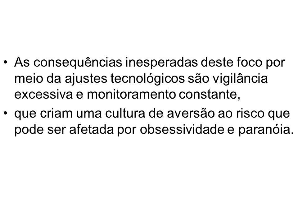 As consequências inesperadas deste foco por meio da ajustes tecnológicos são vigilância excessiva e monitoramento constante, que criam uma cultura de
