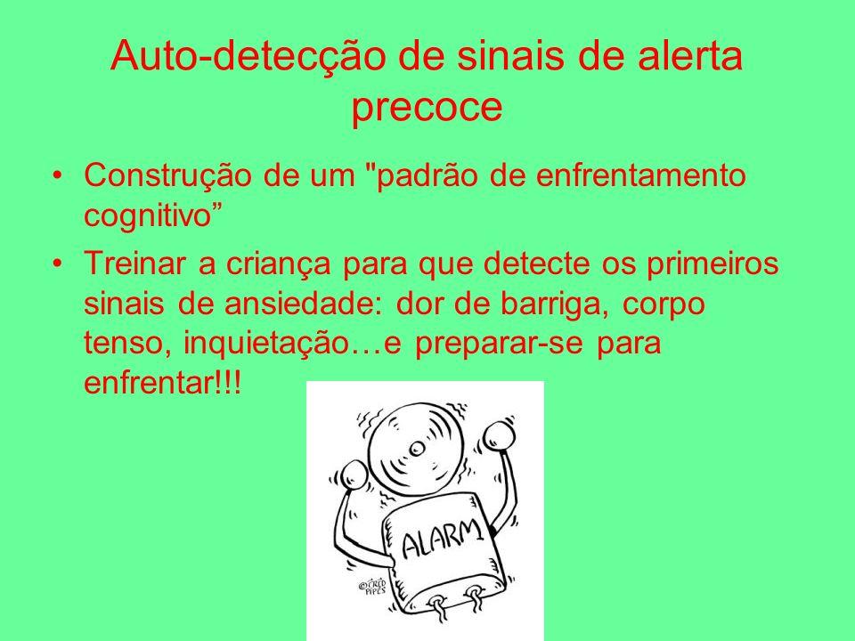 Auto-detecção de sinais de alerta precoce Construção de um padrão de enfrentamento cognitivo Treinar a criança para que detecte os primeiros sinais de ansiedade: dor de barriga, corpo tenso, inquietação…e preparar-se para enfrentar!!!