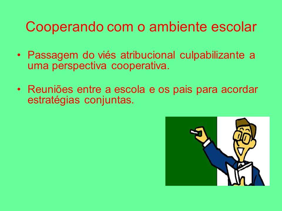 Cooperando com o ambiente escolar Passagem do viés atribucional culpabilizante a uma perspectiva cooperativa.