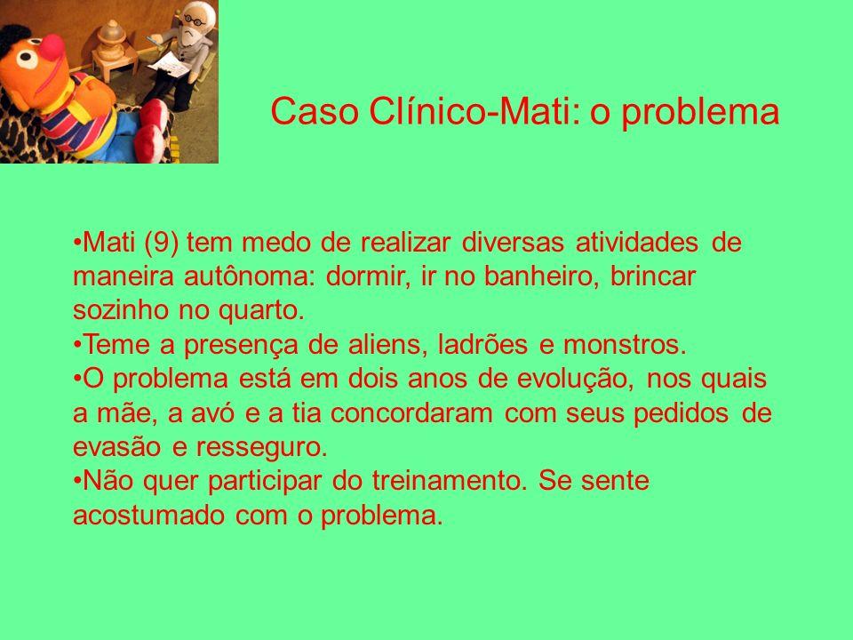 Caso Clínico-Mati: o problema Mati (9) tem medo de realizar diversas atividades de maneira autônoma: dormir, ir no banheiro, brincar sozinho no quarto.