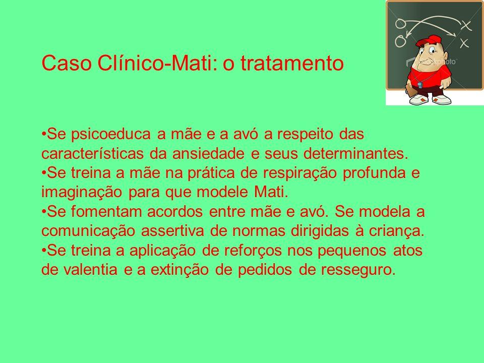 Caso Clínico-Mati: o tratamento Se psicoeduca a mãe e a avó a respeito das características da ansiedade e seus determinantes.
