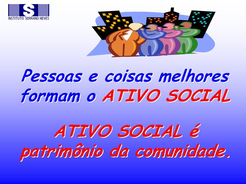 Pessoas e coisas melhores formam o ATIVO SOCIAL ATIVO SOCIAL é patrimônio da comunidade.