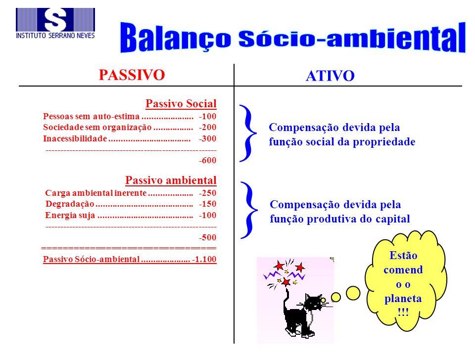 PASSIVO ATIVO Passivo Social Pessoas sem auto-estima...................... -100 Sociedade sem organização................. -200 Inacessibilidade......