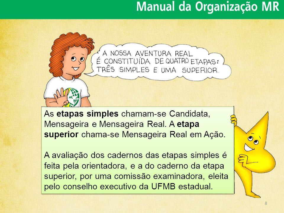 8 As etapas simples chamam-se Candidata, Mensageira e Mensageira Real. A etapa superior chama-se Mensageira Real em Ação. A avaliação dos cadernos das