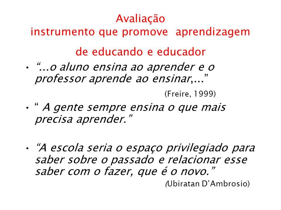 Avaliação instrumento que promove aprendizagem de educando e educador...o aluno ensina ao aprender e o professor aprende ao ensinar,... (Freire, 1999)