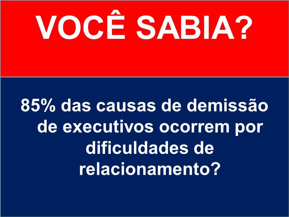 VOCÊ SABIA? 85% das causas de demissão de executivos ocorrem por dificuldades de relacionamento?