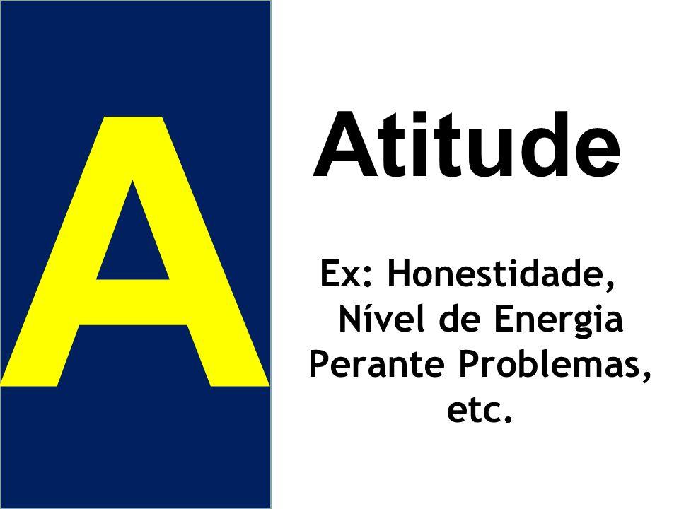 Atitude Ex: Honestidade, Nível de Energia Perante Problemas, etc. A