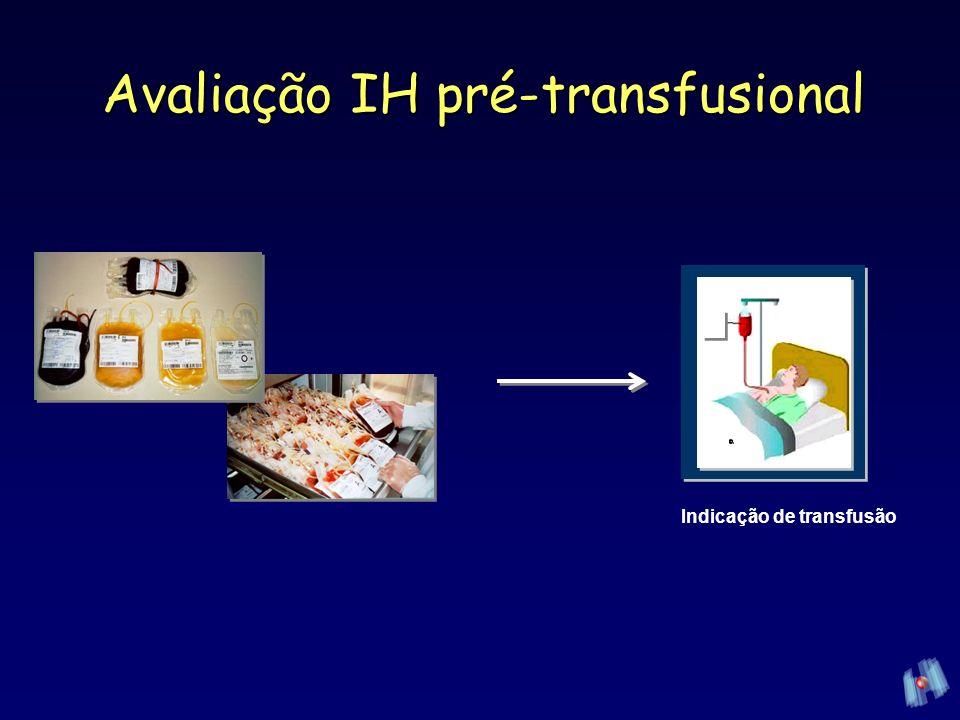 Seleção do hemocompoenteSeleção do hemocompoente –ABO idêntico Componentes plasmáticosComponentes plasmáticos –Volume de hemácias >2mL »Hemácias do doador compatível com plasma do paciente Transfusão de CP – aferesesTransfusão de CP – afereses –Anticorpos ABO / compatíveis com hemácias do receptor –Hemolisinas Avaliação IH pré-transfusional (Silva, 2005; AABB, 2005)