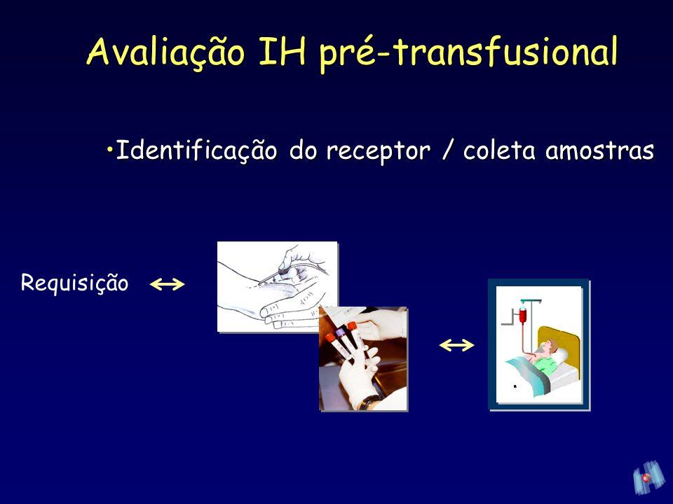 Requisição de transfusãoRequisição de transfusão –2 formas de identificação do paciente Nome + sobrenome / sexo /idade /pesoNome + sobrenome / sexo /idade /peso Registro hospitalar ou Data de nascimento ou N o documentoRegistro hospitalar ou Data de nascimento ou N o documento Diagnóstico / história clínicaDiagnóstico / história clínica –Hb, Plaquetas, Coagulograma Assinatura + CRM do médicoAssinatura + CRM do médico Avaliação IH pré-transfusional Identificação do receptor / coleta amostrasIdentificação do receptor / coleta amostras
