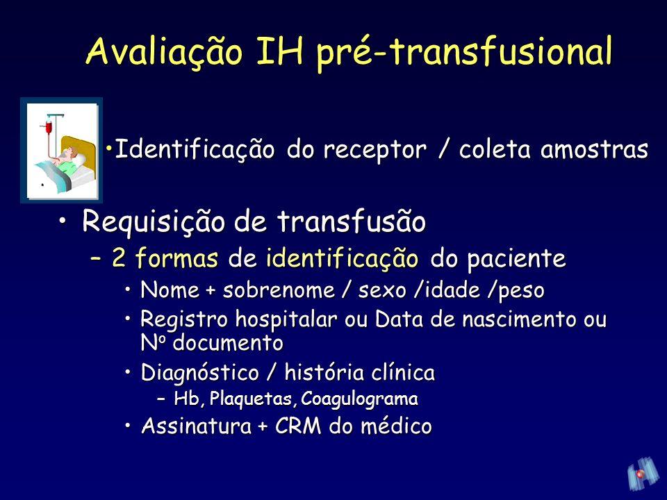 CH : Prova de compatibilidadeCH : Prova de compatibilidade –Amostra do segmento da bolsa –Soro paciente (2gts) + GV 2–5% salina doador (1gta) Leitura TA /incubação 37ºC / Fase AGHLeitura TA /incubação 37ºC / Fase AGH Avaliação IH pré-transfusional Hemocentro UNICAMP: Prova de compatibilidade -PEG