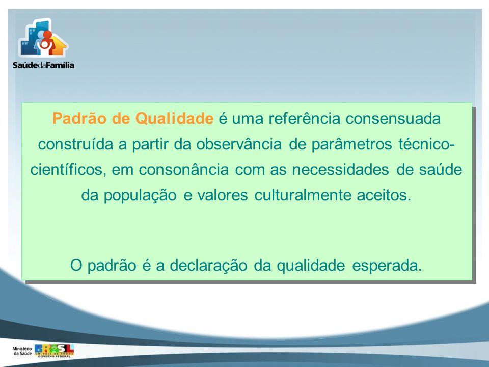 Padrão de Qualidade é uma referência consensuada construída a partir da observância de parâmetros técnico- científicos, em consonância com as necessid