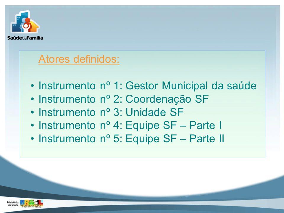 Atores definidos: Instrumento nº 1: Gestor Municipal da saúde Instrumento nº 2: Coordenação SF Instrumento nº 3: Unidade SF Instrumento nº 4: Equipe S