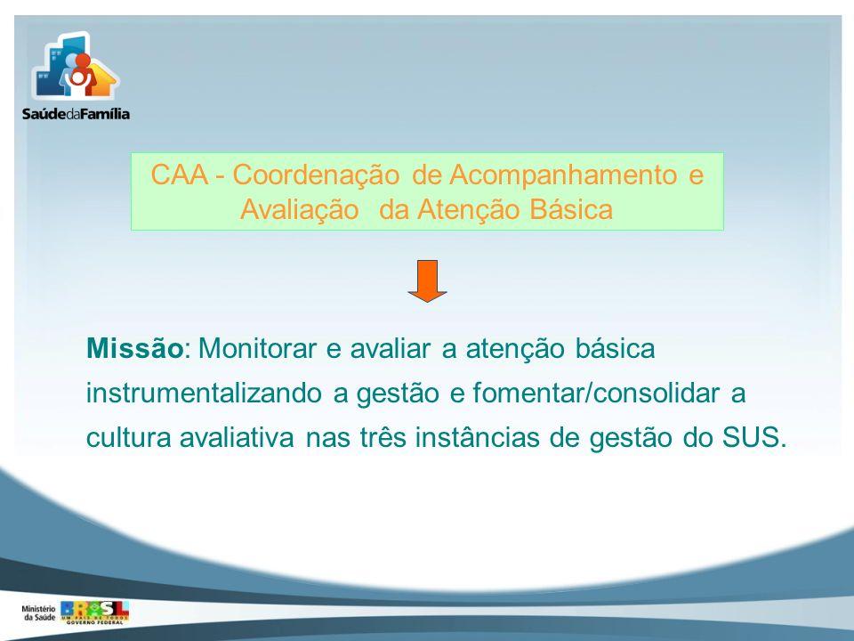 CAA - Coordenação de Acompanhamento e Avaliação da Atenção Básica Missão: Monitorar e avaliar a atenção básica instrumentalizando a gestão e fomentar/