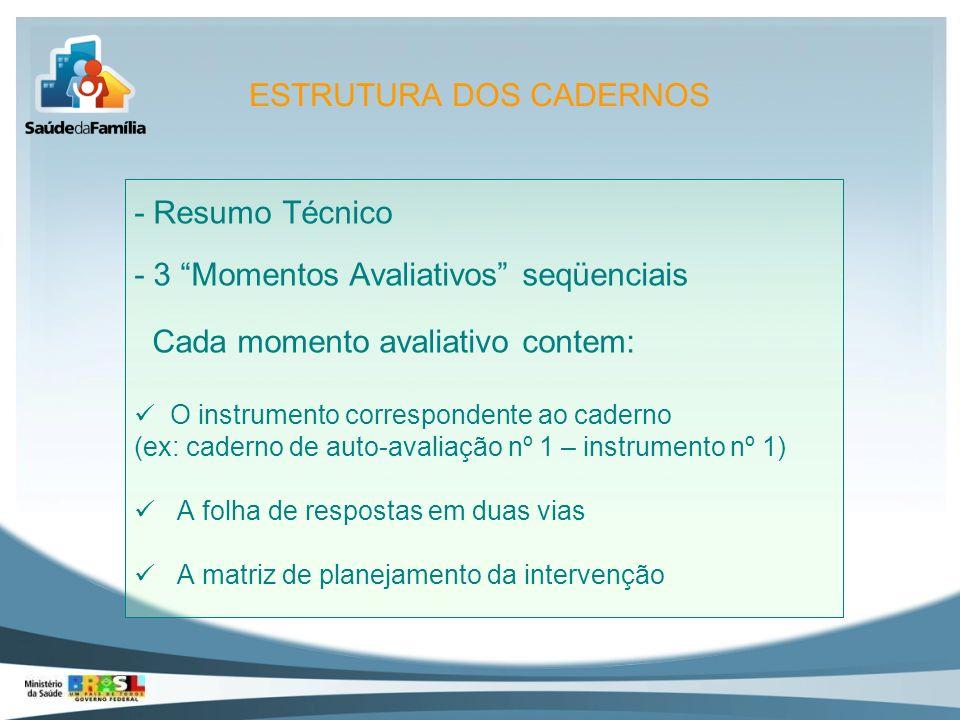 - Resumo Técnico - 3 Momentos Avaliativos seqüenciais Cada momento avaliativo contem: O instrumento correspondente ao caderno (ex: caderno de auto-ava