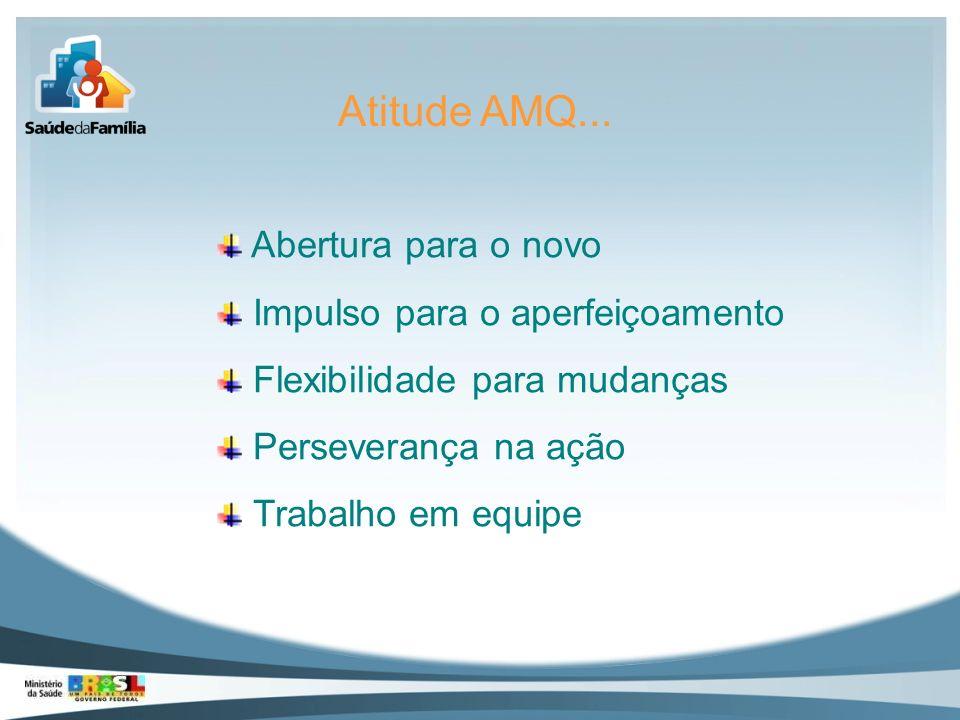 Atitude AMQ... Abertura para o novo Impulso para o aperfeiçoamento Flexibilidade para mudanças Perseverança na ação Trabalho em equipe