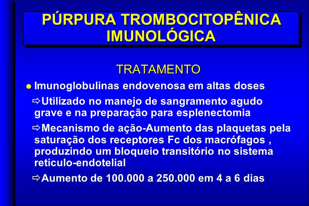 TRATAMENTO l l Imunoglobulinas endovenosa em altas doses Utilizado no manejo de sangramento agudo grave e na preparação para esplenectomia Mecanismo de ação-Aumento das plaquetas pela saturação dos receptores Fc dos macrófagos, produzindo um bloqueio transitório no sistema reticulo-endotelial Aumento de 100.000 a 250.000 em 4 a 6 diasTRATAMENTO l l Imunoglobulinas endovenosa em altas doses Utilizado no manejo de sangramento agudo grave e na preparação para esplenectomia Mecanismo de ação-Aumento das plaquetas pela saturação dos receptores Fc dos macrófagos, produzindo um bloqueio transitório no sistema reticulo-endotelial Aumento de 100.000 a 250.000 em 4 a 6 dias PÚRPURA TROMBOCITOPÊNICA IMUNOLÓGICA
