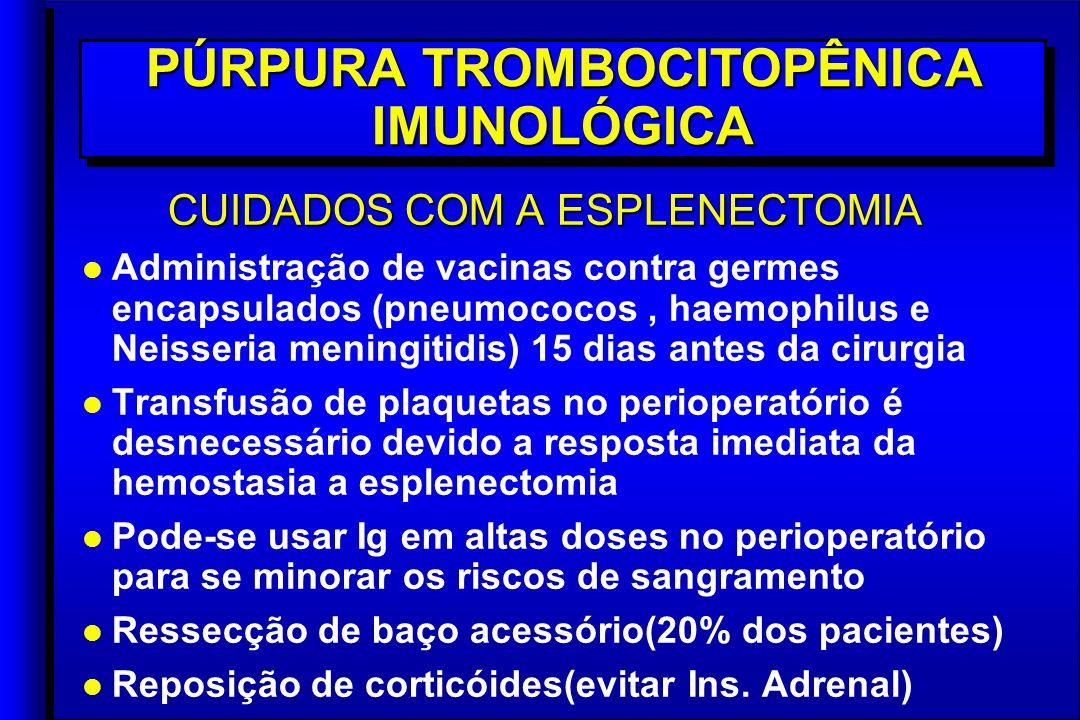 CUIDADOS COM A ESPLENECTOMIA l l Administração de vacinas contra germes encapsulados (pneumococos, haemophilus e Neisseria meningitidis) 15 dias antes da cirurgia l l Transfusão de plaquetas no perioperatório é desnecessário devido a resposta imediata da hemostasia a esplenectomia l l Pode-se usar Ig em altas doses no perioperatório para se minorar os riscos de sangramento l l Ressecção de baço acessório(20% dos pacientes) l l Reposição de corticóides(evitar Ins.