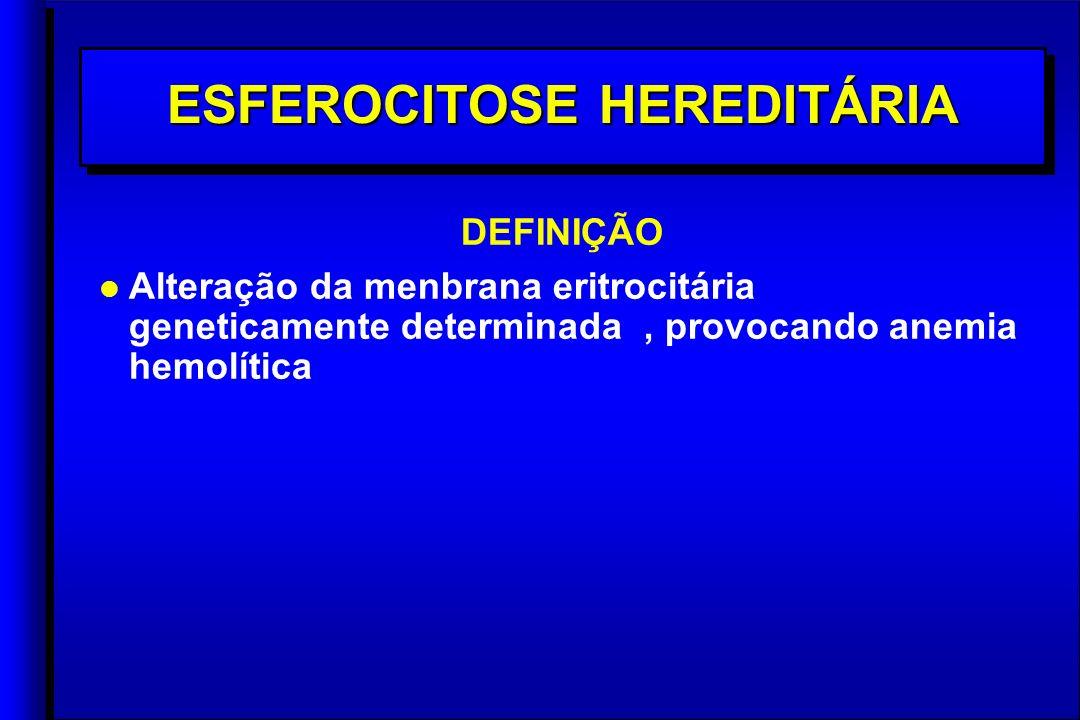 ESFEROCITOSE HEREDITÁRIA DEFINIÇÃO l l Alteração da menbrana eritrocitária geneticamente determinada, provocando anemia hemolítica DEFINIÇÃO l l Alteração da menbrana eritrocitária geneticamente determinada, provocando anemia hemolítica
