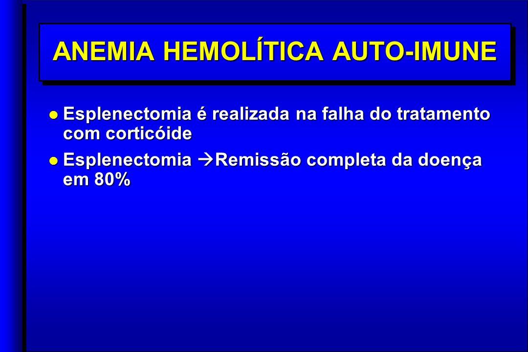 ANEMIA HEMOLÍTICA AUTO-IMUNE l Esplenectomia é realizada na falha do tratamento com corticóide l Esplenectomia Remissão completa da doença em 80% l Esplenectomia é realizada na falha do tratamento com corticóide l Esplenectomia Remissão completa da doença em 80%