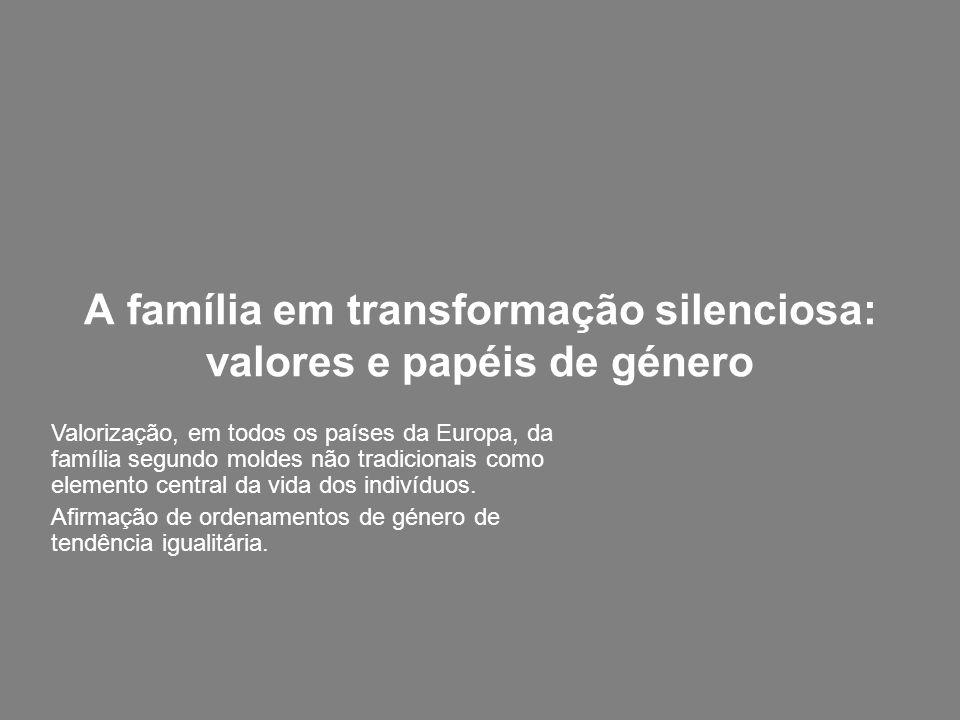 A família em transformação silenciosa: valores e papéis de género Valorização, em todos os países da Europa, da família segundo moldes não tradicionai