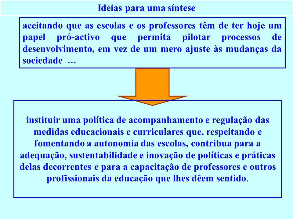 Ideias para uma síntese aceitando que as escolas e os professores têm de ter hoje um papel pró-activo que permita pilotar processos de desenvolvimento