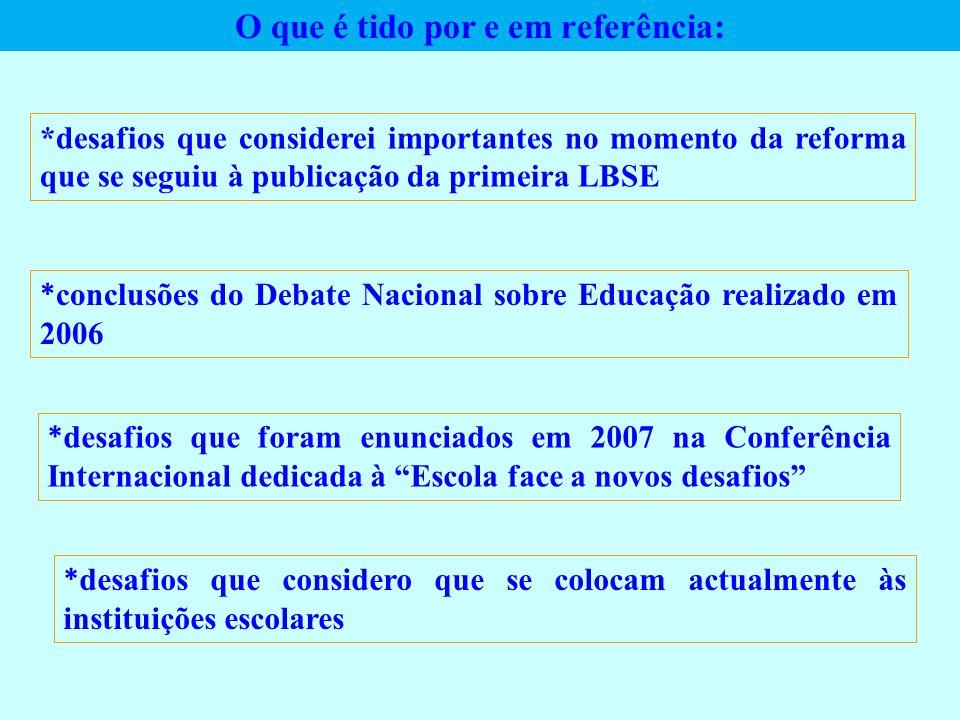 O que é tido por e em referência: *desafios que considerei importantes no momento da reforma que se seguiu à publicação da primeira LBSE * conclusões