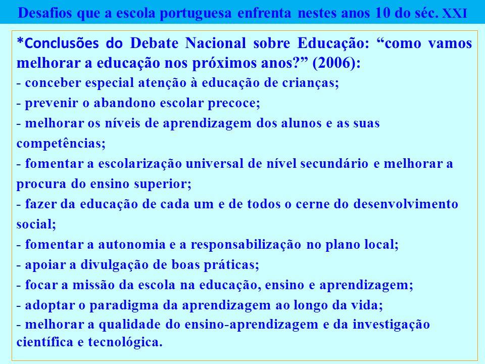 Desafios que a escola portuguesa enfrenta nestes anos 10 do séc. XXI *Conclusões do Debate Nacional sobre Educação: como vamos melhorar a educação nos
