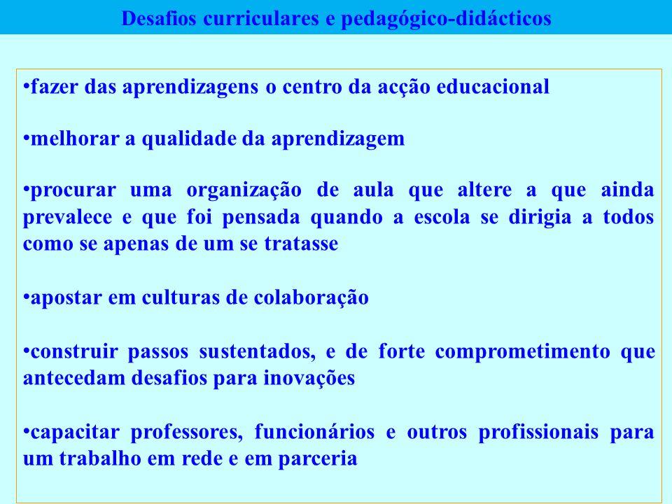 Desafios curriculares e pedagógico-didácticos fazer das aprendizagens o centro da acção educacional melhorar a qualidade da aprendizagem procurar uma