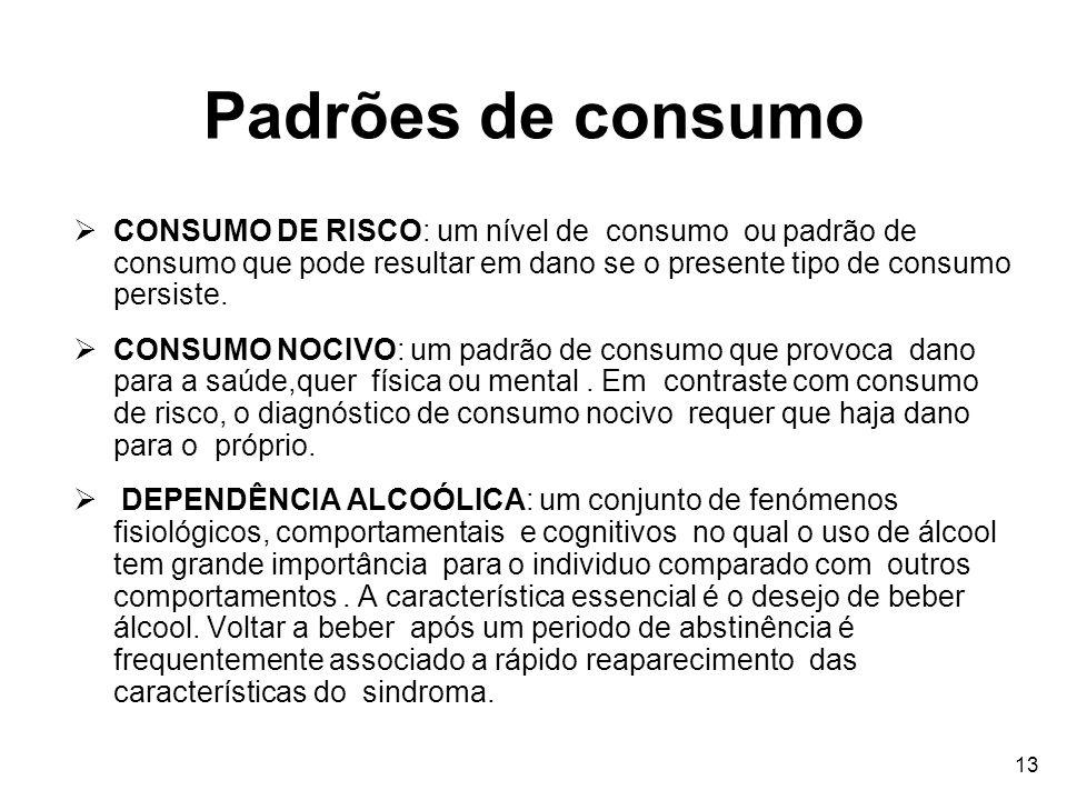 13 Padrões de consumo CONSUMO DE RISCO: um nível de consumo ou padrão de consumo que pode resultar em dano se o presente tipo de consumo persiste. CON
