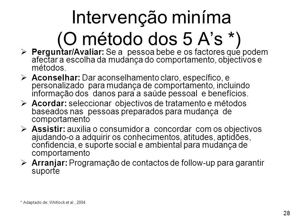 28 Intervenção miníma (O método dos 5 As *) Perguntar/Avaliar: Se a pessoa bebe e os factores que podem afectar a escolha da mudança do comportamento,
