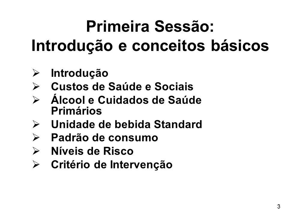 3 Primeira Sessão: Introdução e conceitos básicos Introdução Custos de Saúde e Sociais Álcool e Cuidados de Saúde Primários Unidade de bebida Standard
