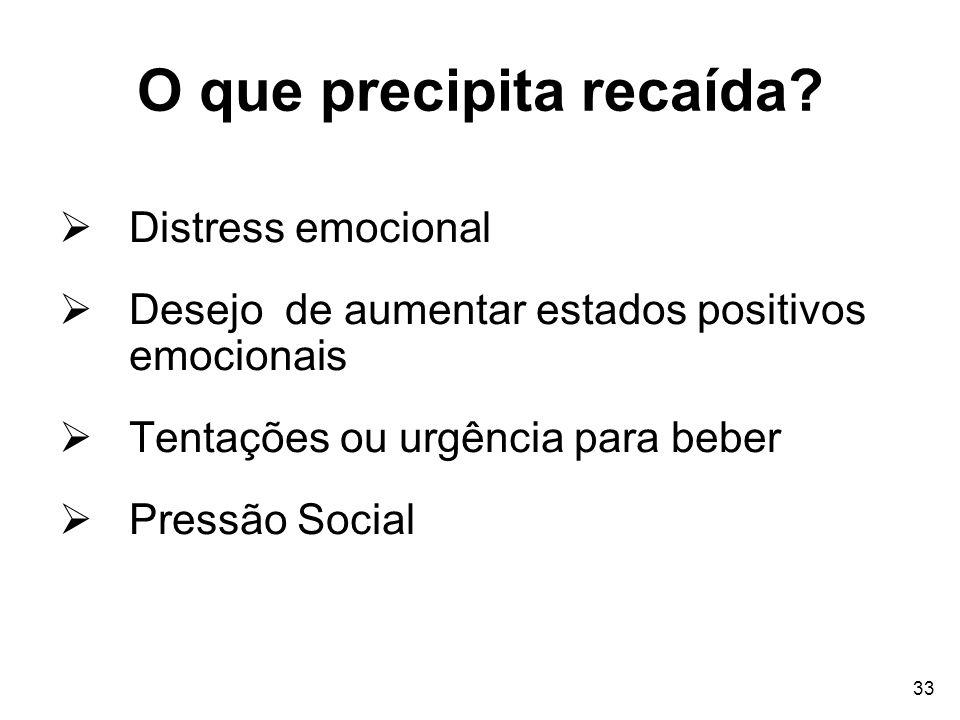 33 O que precipita recaída? Distress emocional Desejo de aumentar estados positivos emocionais Tentações ou urgência para beber Pressão Social