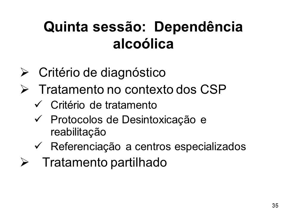 35 Quinta sessão: Dependência alcoólica Critério de diagnóstico Tratamento no contexto dos CSP Critério de tratamento Protocolos de Desintoxicação e r