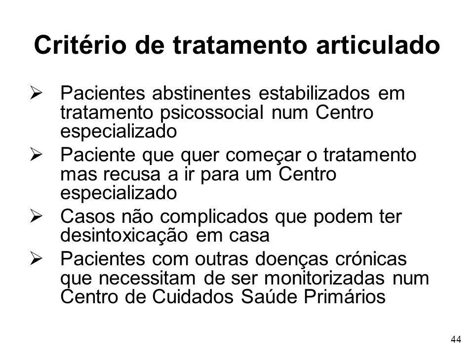 44 Critério de tratamento articulado Pacientes abstinentes estabilizados em tratamento psicossocial num Centro especializado Paciente que quer começar