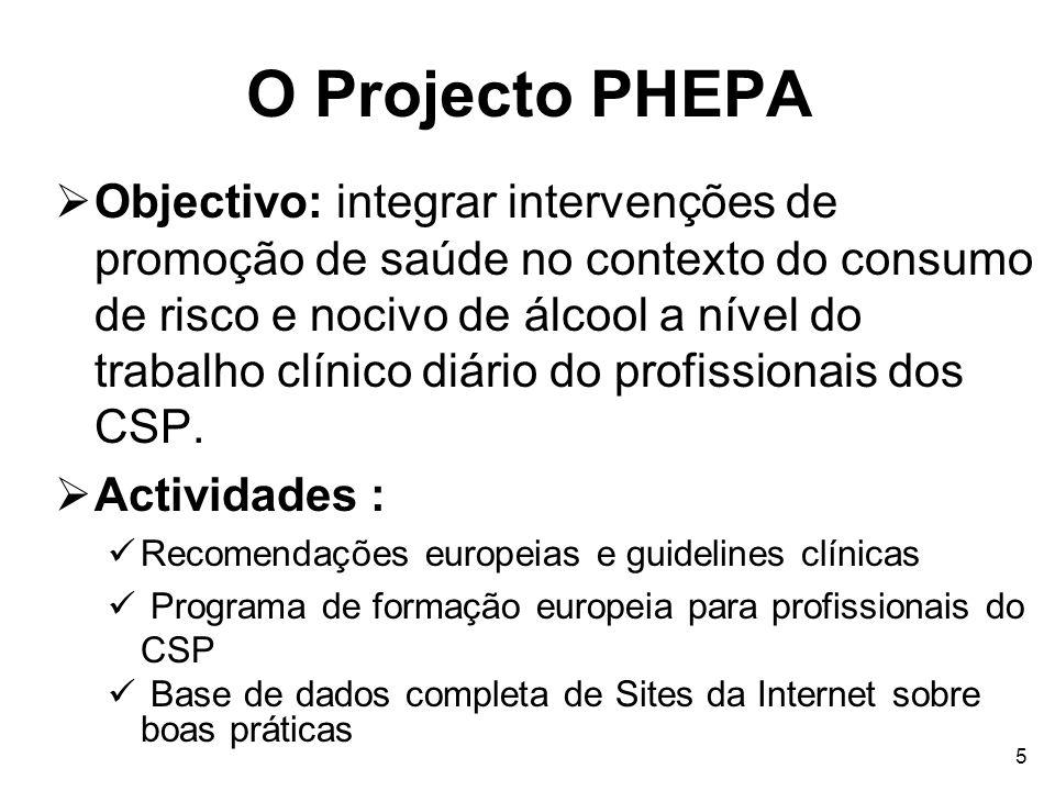 5 O Projecto PHEPA Objectivo: integrar intervenções de promoção de saúde no contexto do consumo de risco e nocivo de álcool a nível do trabalho clínic