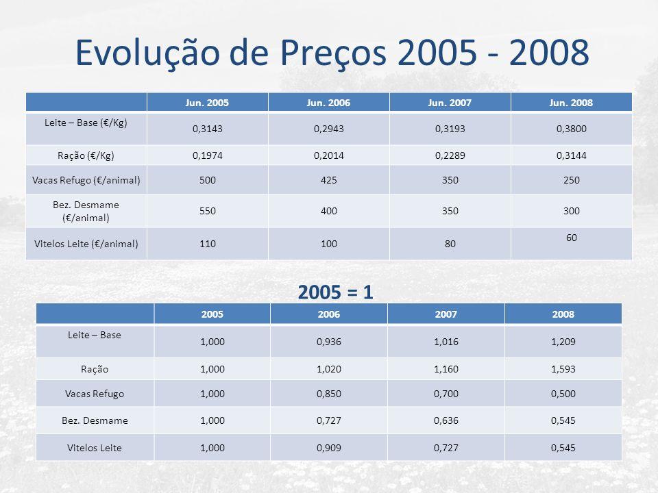 Evolução de Preços 2005 - 2008 Jun. 2005Jun. 2006Jun. 2007Jun. 2008 Leite – Base (/Kg) 0,31430,29430,31930,3800 Ração (/Kg)0,19740,20140,22890,3144 Va