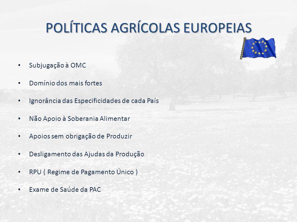 POLÍTICAS AGRÍCOLAS EUROPEIAS Subjugação à OMC Domínio dos mais fortes Ignorância das Especificidades de cada País Não Apoio à Soberania Alimentar Apo