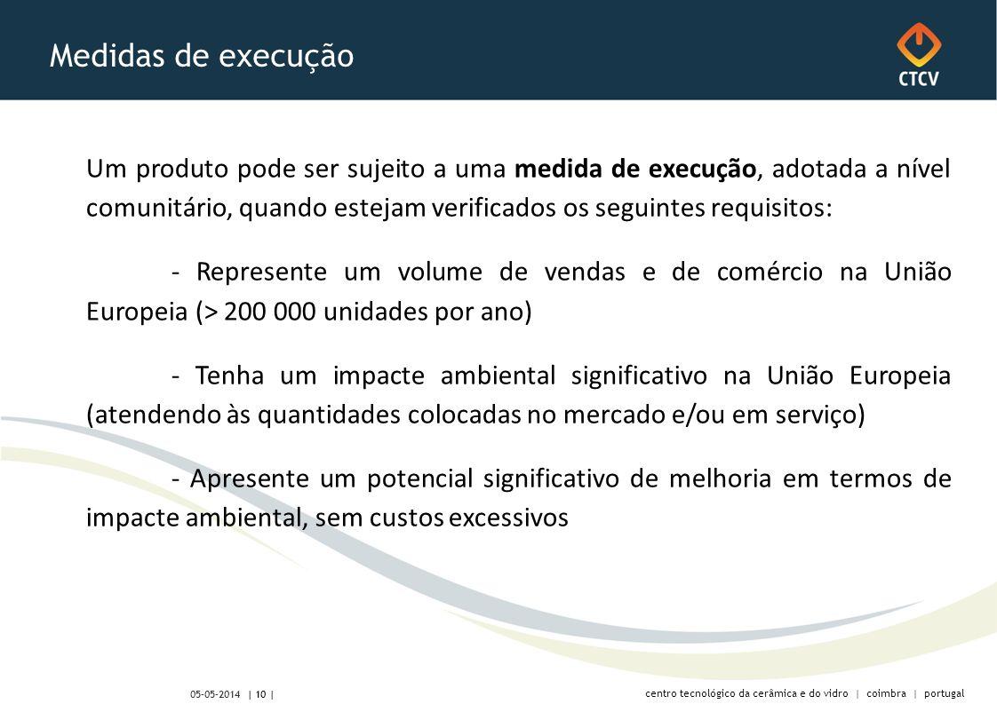centro tecnológico da cerâmica e do vidro | coimbra | portugal | 10 | 05-05-2014 Medidas de execução Um produto pode ser sujeito a uma medida de execução, adotada a nível comunitário, quando estejam verificados os seguintes requisitos: - Represente um volume de vendas e de comércio na União Europeia (> 200 000 unidades por ano) - Tenha um impacte ambiental significativo na União Europeia (atendendo às quantidades colocadas no mercado e/ou em serviço) - Apresente um potencial significativo de melhoria em termos de impacte ambiental, sem custos excessivos