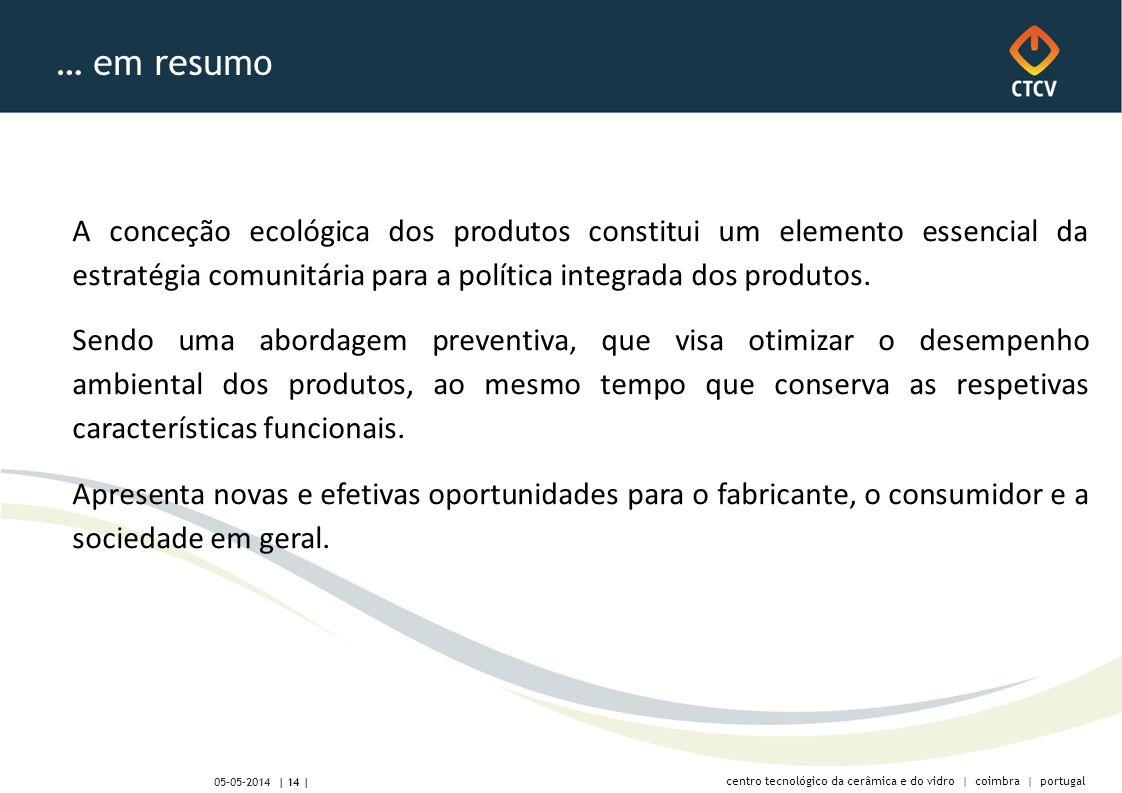 centro tecnológico da cerâmica e do vidro | coimbra | portugal | 14 | 05-05-2014 … em resumo A conceção ecológica dos produtos constitui um elemento essencial da estratégia comunitária para a política integrada dos produtos.
