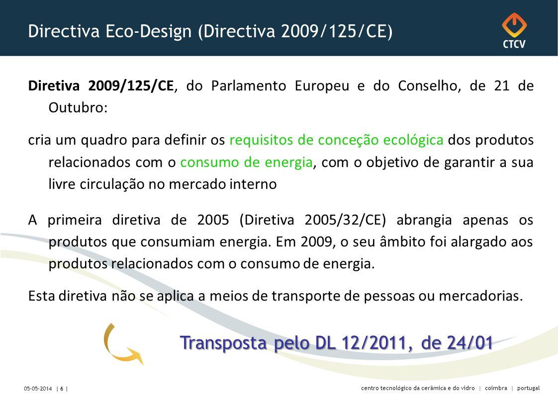 centro tecnológico da cerâmica e do vidro | coimbra | portugal Directiva Eco-Design (Directiva 2009/125/CE) Diretiva 2009/125/CE, do Parlamento Europeu e do Conselho, de 21 de Outubro: cria um quadro para definir os requisitos de conceção ecológica dos produtos relacionados com o consumo de energia, com o objetivo de garantir a sua livre circulação no mercado interno A primeira diretiva de 2005 (Diretiva 2005/32/CE) abrangia apenas os produtos que consumiam energia.