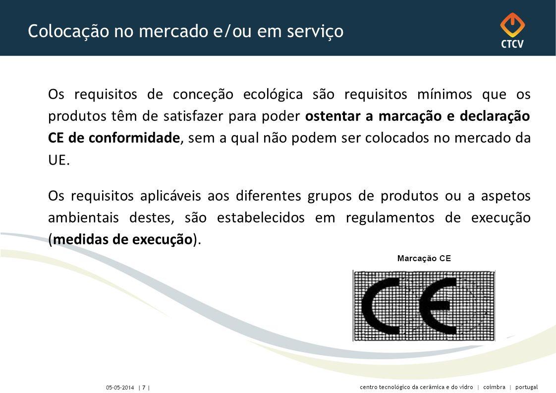 centro tecnológico da cerâmica e do vidro | coimbra | portugal | 7 | 05-05-2014 Colocação no mercado e/ou em serviço Os requisitos de conceção ecológi