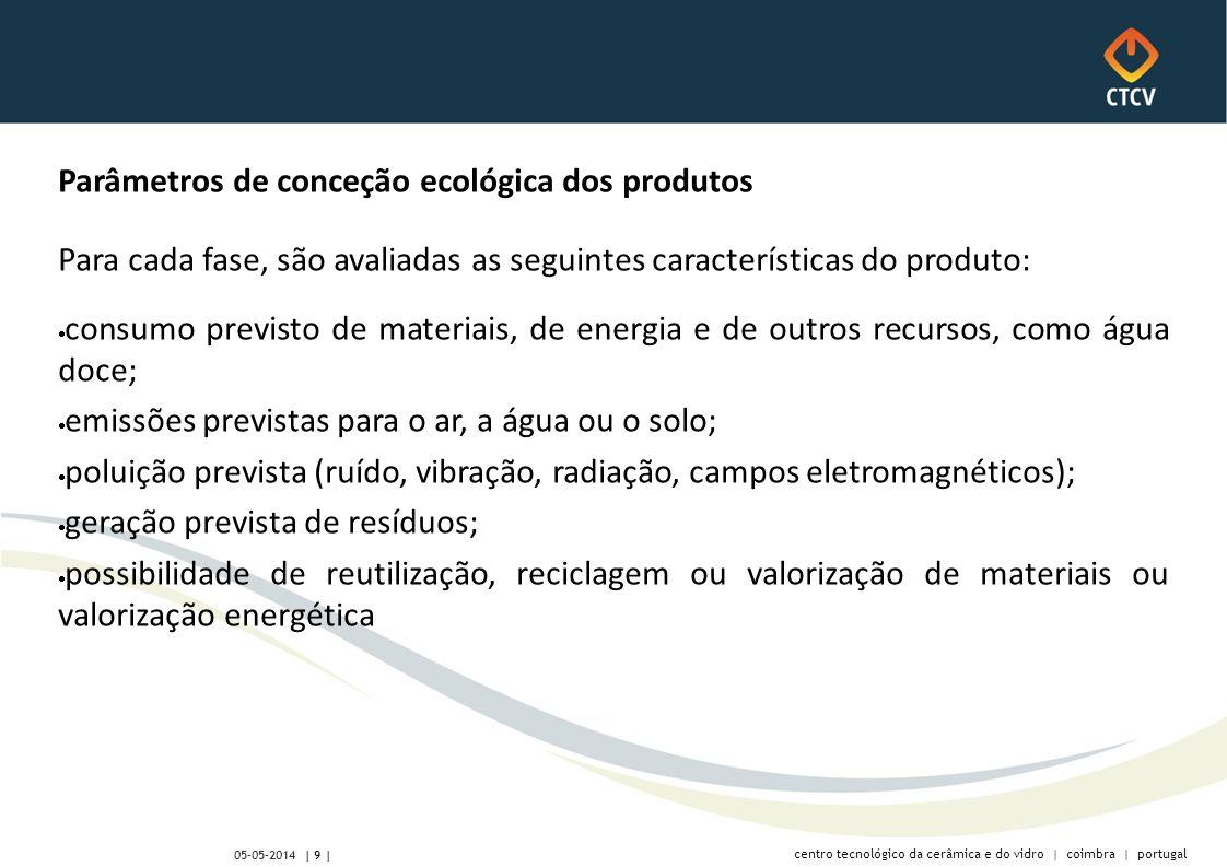 centro tecnológico da cerâmica e do vidro | coimbra | portugal | 9 | 05-05-2014 Parâmetros de conceção ecológica dos produtos Para cada fase, são avaliadas as seguintes características do produto: consumo previsto de materiais, de energia e de outros recursos, como água doce; emissões previstas para o ar, a água ou o solo; poluição prevista (ruído, vibração, radiação, campos eletromagnéticos); geração prevista de resíduos; possibilidade de reutilização, reciclagem ou valorização de materiais ou valorização energética
